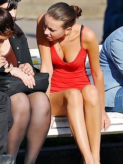 Sitting Upskirt Porn Pics
